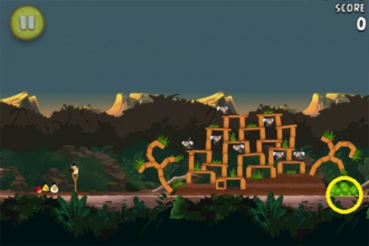Banane d'or cachée 13 dans Angry Birds RIO