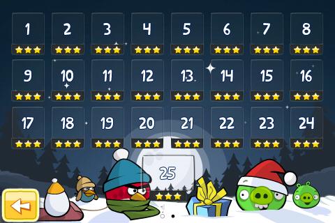 niveaux Angry Birds Noël 3 étoiles