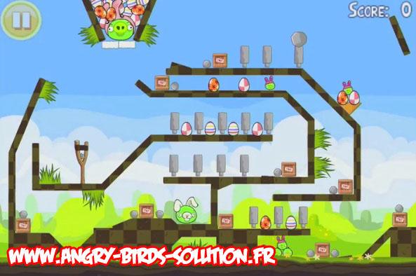 Niveau bonus de l'oeuf de pâques en or 19 d'Angry Birds Easter