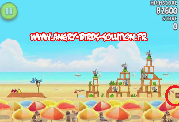 Pastèque d'or cachée 1 d'Angry Birds Rio : Beach Volley