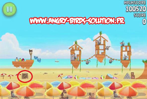 Pastèque d'or cachée 13 d'Angry Birds Rio : Beach Volley