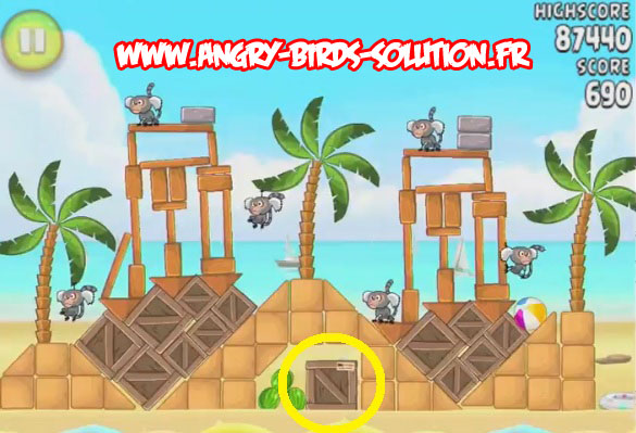 Pastèque d'or cachée 3 d'Angry Birds Rio : Beach Volley