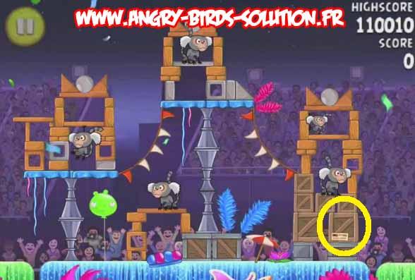 Papaye en or cachée 4 du niveau 7-8 d'Angry Birds Rio