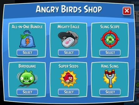 L'Angry Birds Shop sur Facebook